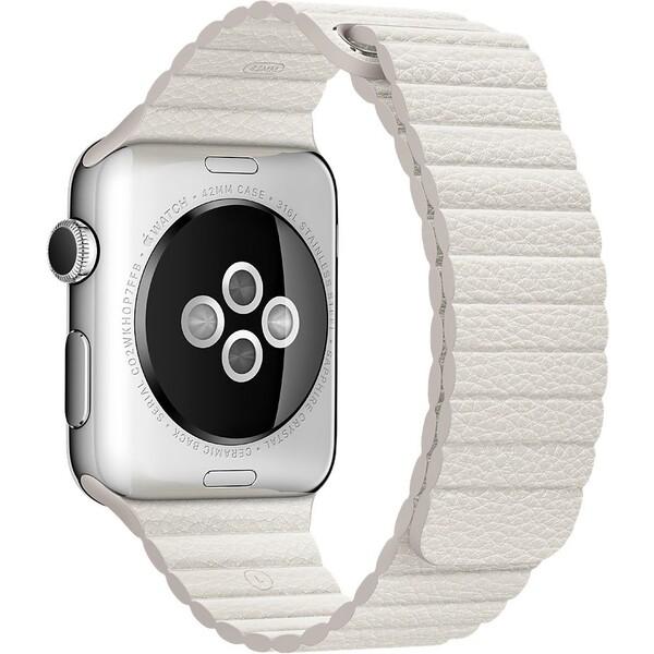 Apple Watch kožený řemínek 42mm M bílý