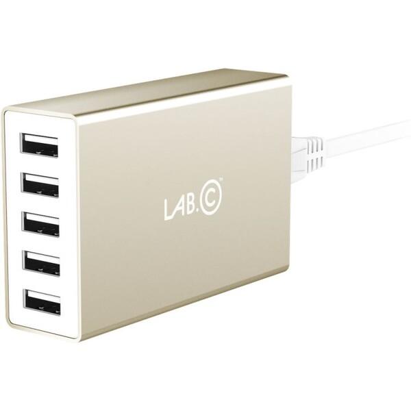 LAB.C X5 síťová nabíječka 5x USB zlatá