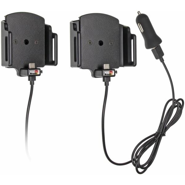 Brodit držák do auta nastavitelný s USB-C a nabíjením z cig. zapalovače/USB š.62-77 mm, tl. 6-10 521 Černá