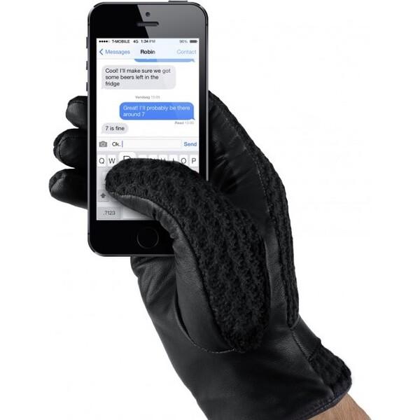 MUJJO kožené háčkované dotykové rukavice pro SmartPhone (vel. 8,5) černé Černá