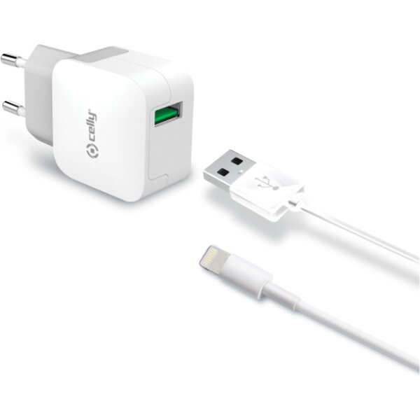Set CELLY cestovní USB nabíječky a Lighting kabelu, 2.4 A, bílá TCUSBLIGHT Bílá