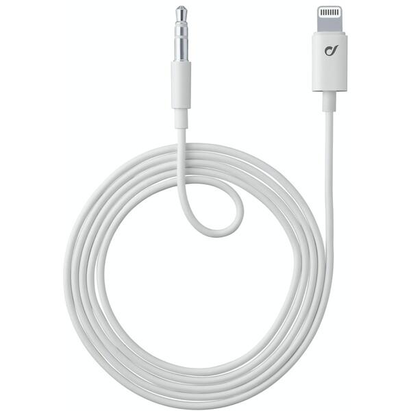 Cellularline Aux Music Cable audio kabel s konektory Ligtning + 3,5 mm jack, MFI, bílý