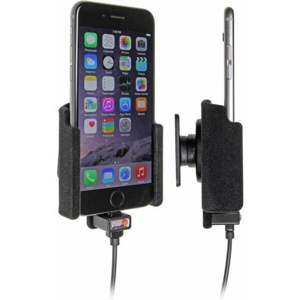 Brodit držák do auta na Apple iPhone 6/6s/7 bez pouzdra, se skrytým nabíjením, samet 527660 Černá