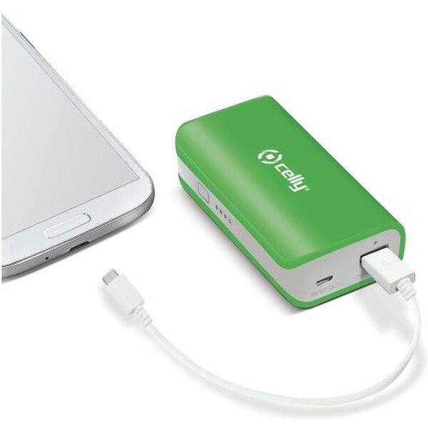 CELLY Powerbank externí baterie USB svítilna 4000mAh zelená