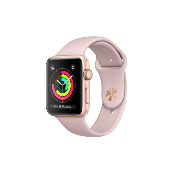 Apple Watch Series 3 42mm zlatý hliník s pískově růžovým sportovním řemínkem (2017)