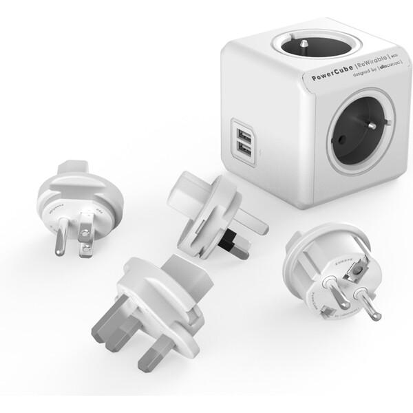 PowerCube ReWirable USB + Travel Plugs zásuvka šedá