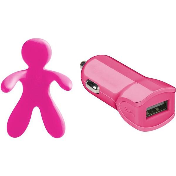 Set 2v1 CELLY Giulio & Cesare USB autonabíječka + osvěžovač vzduchu 1 A růžová GIULIOCESAREPK Růžová