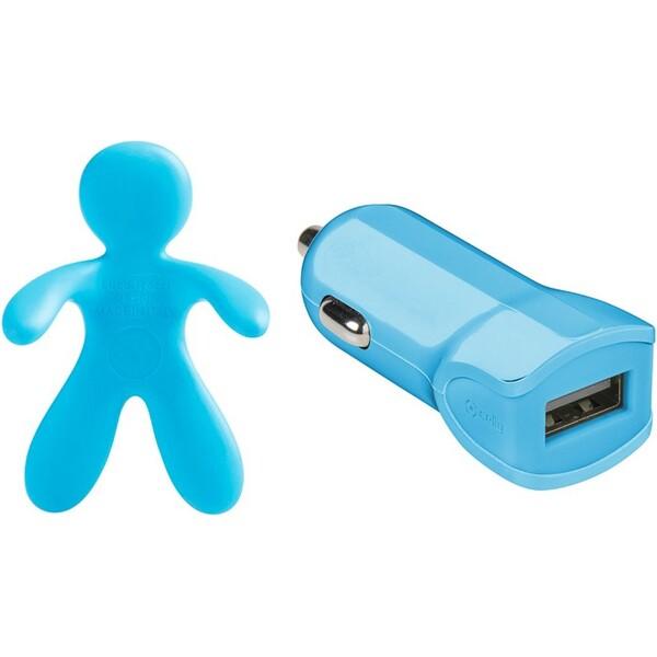 Set 2v1 CELLY Giulio & Cesare USB autonabíječka + osvěžovač vzduchu 1 A modrá GIULIOCESARELB Modrá