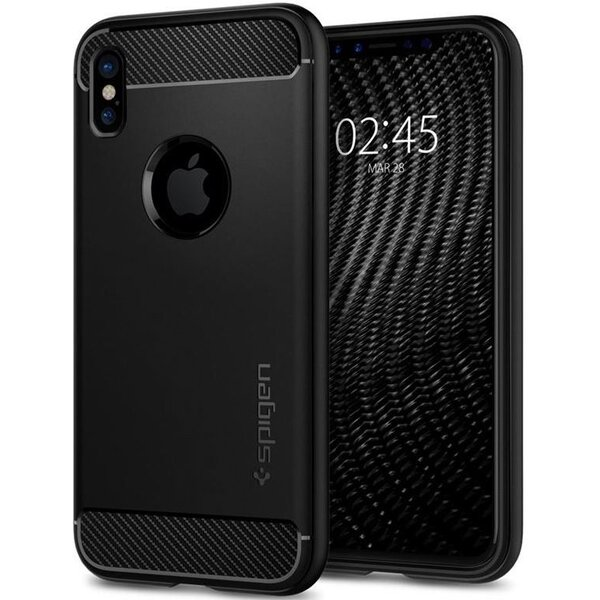 Spigen Rugged Armor, black - iPhone X Černá