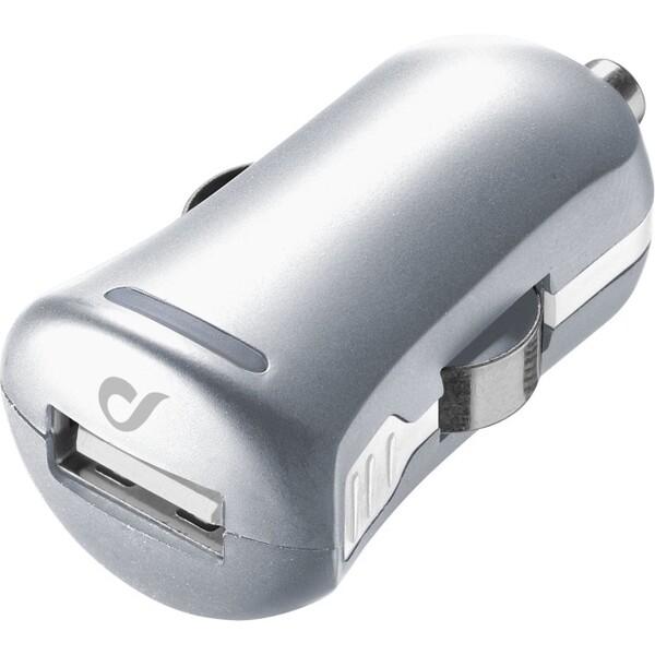 Cellularline Unique Design autonabíječka pro iPhone 10W/2A stříbrná Stříbrná