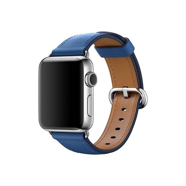 Apple Watch kožený řemínek s klasickou přezkou 42mm jezerně modrý