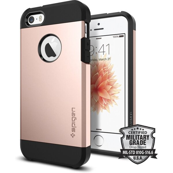 Kryt Spigen Tough Armor, rose gold - iPhone SE / 5s / 5 (041CS20190) Růžová