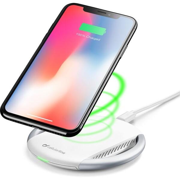 Cellularline Wirelesspad bezdrátová Qi nabíječka s Fast Charge adaptérem bílá