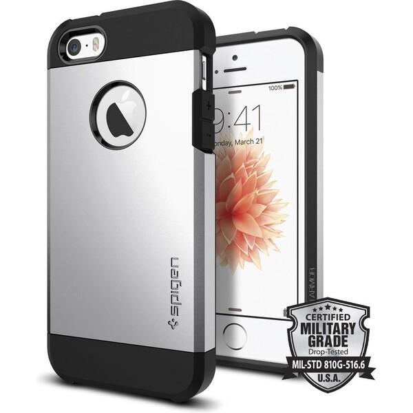 Kryt Spigen Tough Armor, satin silver - iPhone SE / 5s / 5 (041CS20251) Stříbrná