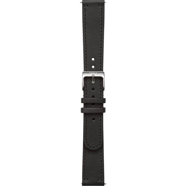 Nokia Accessory kožený řemínek (18mm) Activité Steel a Steel HR (36mm) černý NOK-LE-18-BK Černá