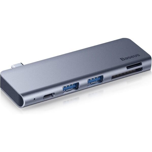 Baseus Harmonica 5v1 USB C hub šedý