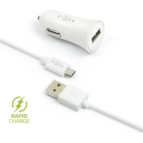 FIXED Rapid Charge autonabíječka s odnímatelným MicroUSB kabelem, 2,4A bílá