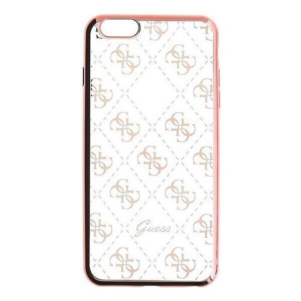Pouzdro Guess Signature 4G TPU Case Apple iPhone 5 iPhone 5S iPhone SE růžově zlaté Růžová