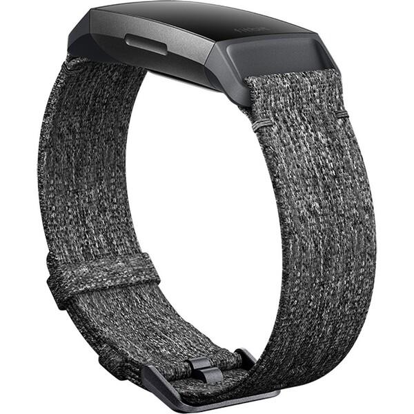 Fitbit Charge 3 sportovní řemínek Woven Charcoal Large Šedá