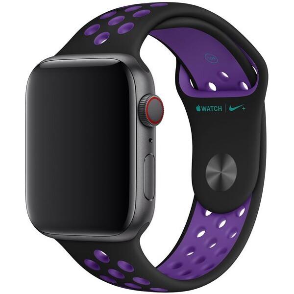 Apple Watch sportovní řemínek Nike 44/42mm černý/hyperfialový