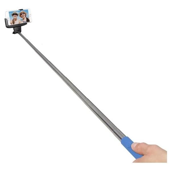 Teleskopický Bluetooth selfie držák modrý