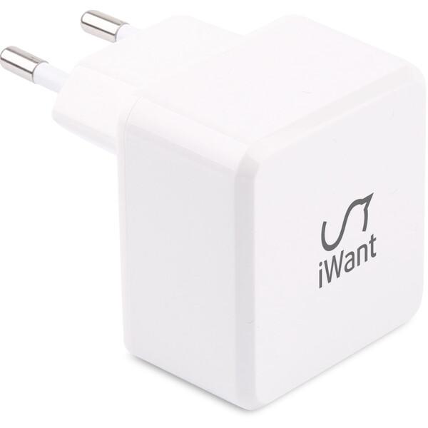 iWant dvojitá USB nabíječka do sítě bílá