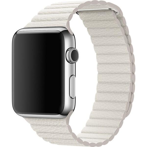 Apple Watch kožený řemínek 42mm L bílý