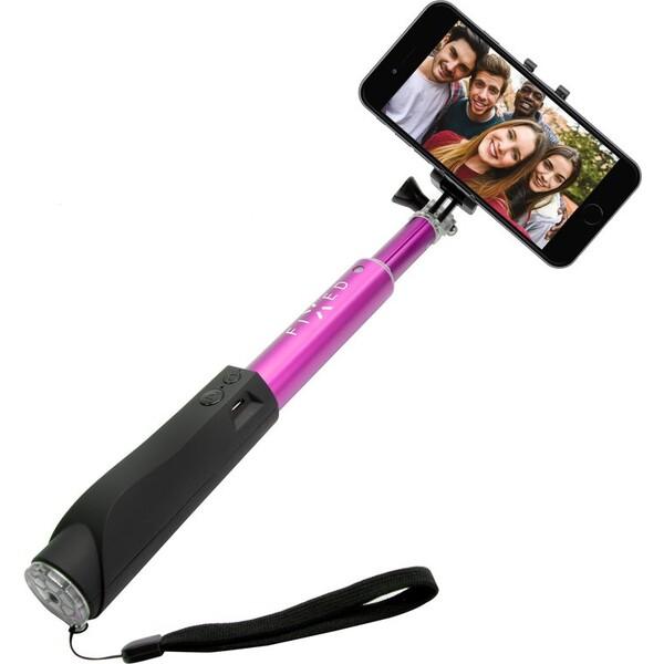 FIXED Bluetooth selfie stick s tlačítkem, růžová FIXSS-BT-PI Růžová