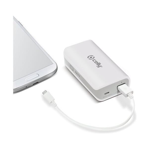 CELLY Powerbank externí baterie USB svítilna 4000mAh bílá