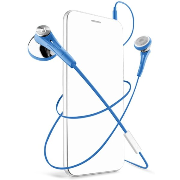 CellularLine FIREFLY sluchátka plochý kabel modré