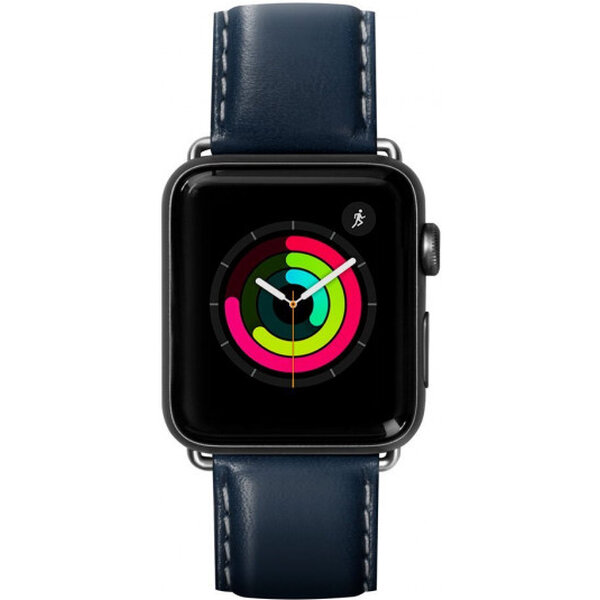 LAUT Oxford kožený řemínek na Apple Watch 42/44 mm tmavěmodrý