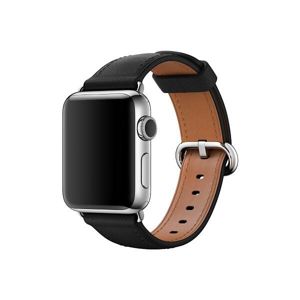 Apple Watch kožený řemínek s klasickou přezkou 38mm černý