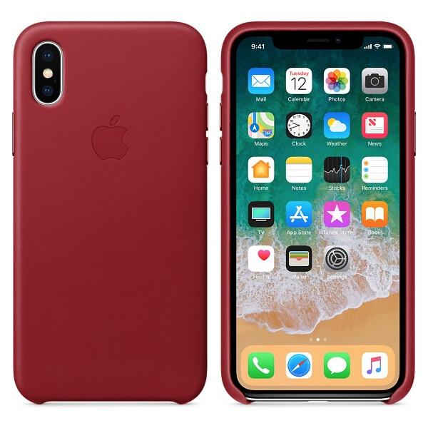 Pouzdro Apple kožené iPhone X červené Červená