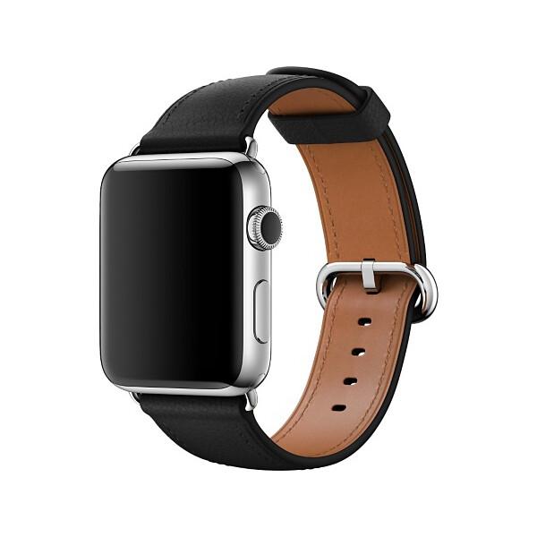 Apple Watch kožený řemínek s klasickou přezkou 42mm černý