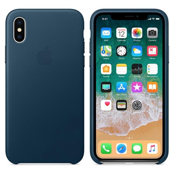 Pouzdro Apple kožené iPhone X vesmírně modré Vesmírně modrá