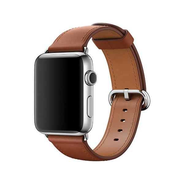 Apple Watch kožený řemínek s klasickou přezkou 42mm sedlově hnědý