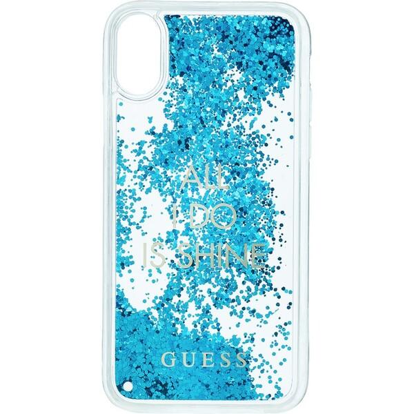 Pouzdro GUHCPXGLUQBL Guess Liquid Glitter iPhone X Modrá