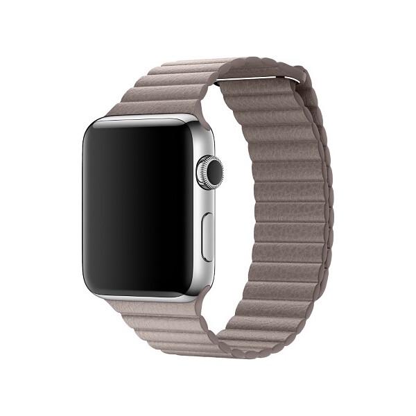 Apple Watch kožený řemínek 42mm M kouřově šedý