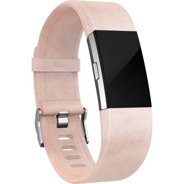 Fitbit náhradní kožený náramek Charge 2 L růžový