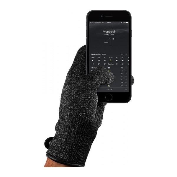 MUJJO dvouvrstvé dotykové rukavice pro SmartPhone (M) černé Černá