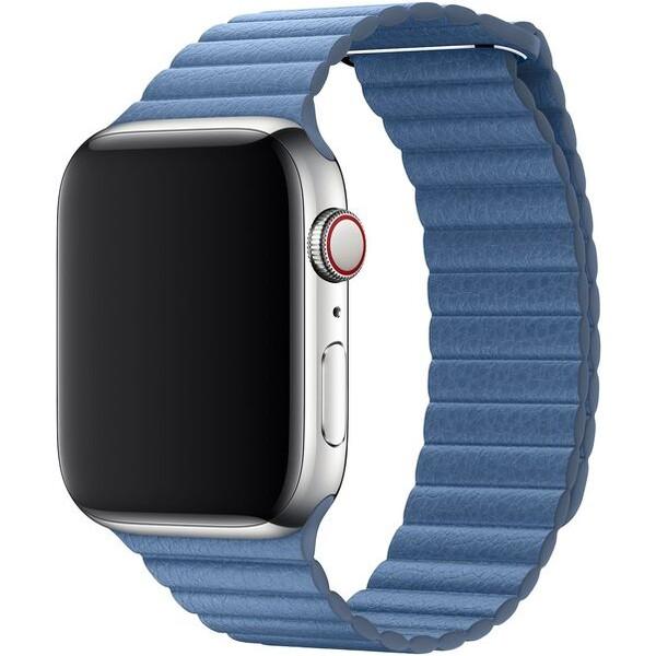 Apple Watch kožený řemínek 44/42mm vel. M chrpově modrý