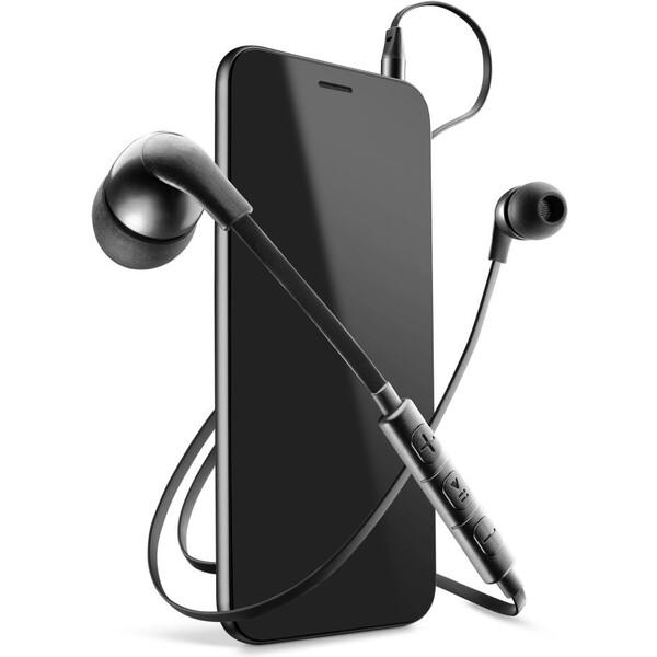 In-ear sluchátka CellularLine HORNET s mikrofonem, 3,5 mm jack, plochý kabel, černá Černá
