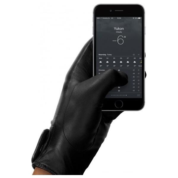 MUJJO Kožené dotykové rukavice - velikost 8 - černé Černá
