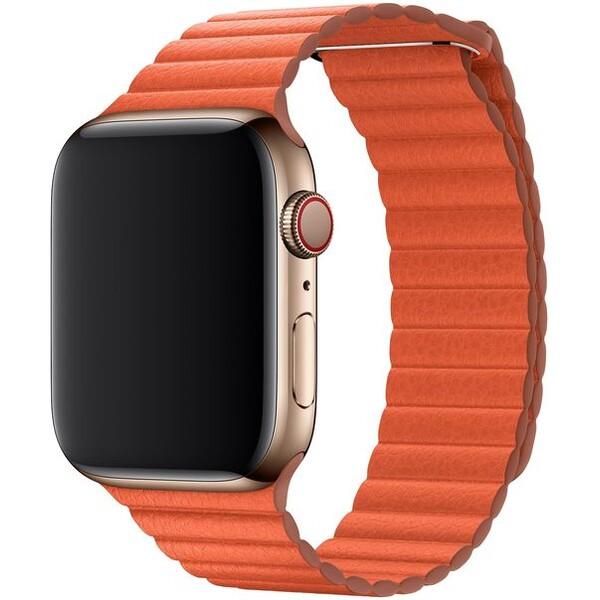 Apple Watch kožený řemínek 44/42mm vel. M temně oranžový