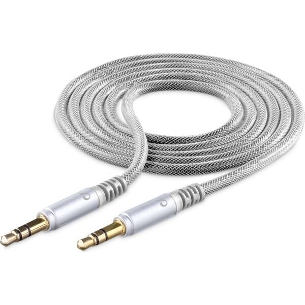 Cellularline Unique Design audio kabel 3,5mm jack pro iPhone stříbrný Stříbrná