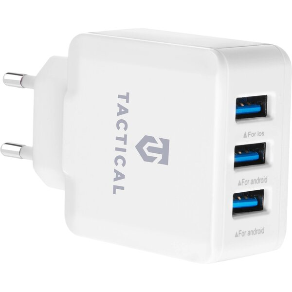 Tactical 3x USB-A cestovní nabíječka bílá