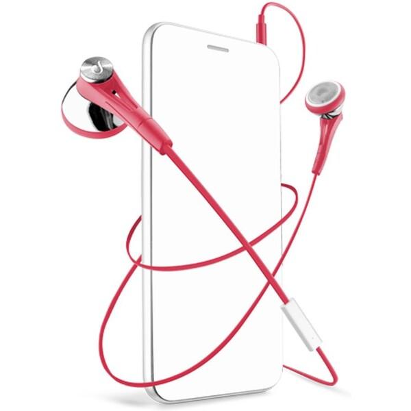 CellularLine FIREFLY sluchátka plochý kabel červené