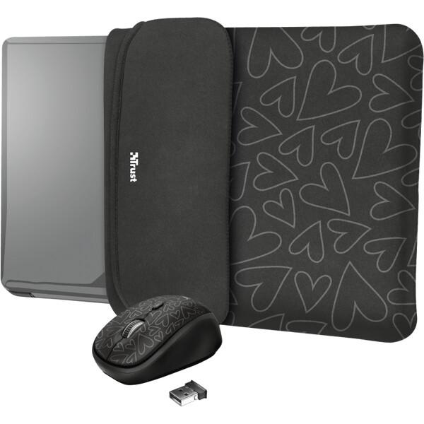 """Trust myš + obal na notebook Yvo Reversible 15.6"""" černá srdce"""