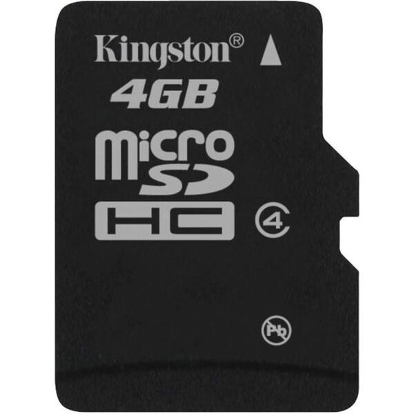 Kingston microSDHC 4GB Class 4 + adaptér SDC4/4GB Černá