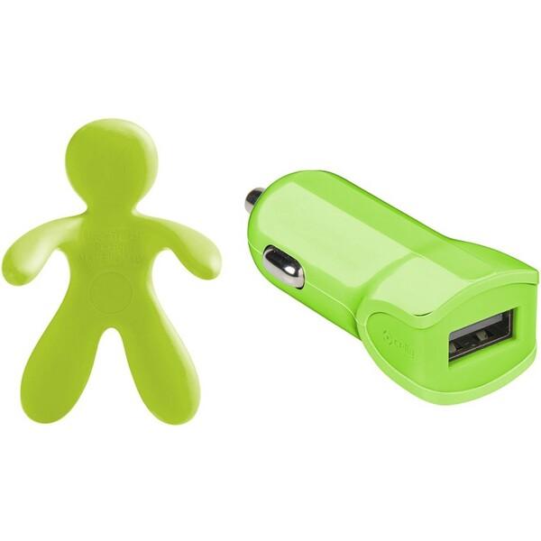 Set 2v1 CELLY Giulio & Cesare USB autonabíječka + osvěžovač vzduchu 1 A zelená GIULIOCESAREGN Zelená
